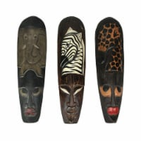 Set Of 3 African Wildlife Wooden Wall Masks - One Size