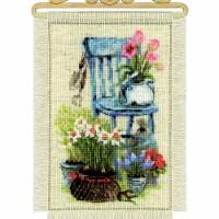Riolis R1656 8 x 11.75 in. Cottage Garden Stamped Cross Stitch Kit - 14 Count - 14