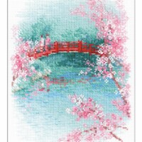 Riolis R1745 7 x 9.5 in. Counted Cross Stitch Kit - Sakura Bridge, 14 Count - 14