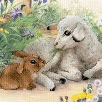 Riolis R0051 PT 11.75 x 11.75 in. Lamb & Rabbit Stamped Cross Stitch Kit - 10 Count - 10