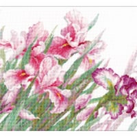 Riolis R100-024 17.75 x 13.75 in. Irises Counted Cross Stitch Kit - 14 Count - 14