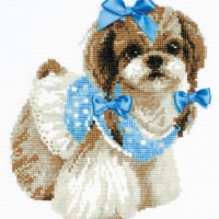Riolis R1120 9.75 x 9.75 in. Shih Tzu Counted Cross Stitch Kit - 14 Count - 14