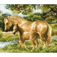 Riolis R1258 15.75 x 12 in. Horse with Foal Counted Cross Stitch Kit - 14 Count - 14