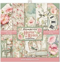 Stamperia Double-Sided Paper Pad 8 X8  10/Pkg-House Of Roses, 10 Designs/1 Each - 10/Pkg