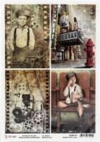 Ciao Bella Rice Paper Sheet A4 5/Pkg-Modern Times Cards - 1