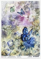 Ciao Bella Rice Paper Sheet A4 5/Pkg-Blue Butterfly, Microcosmos - 1