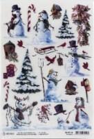 Ciao Bella Rice Paper Sheet A4 5/Pkg-Snowmen, Northern Lights - 1