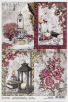 Ciao Bella Rice Paper Sheet A4 5/Pkg-Cards, Frozen Roses - 1
