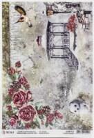 Ciao Bella Rice Paper Sheet A4 5/Pkg-Frozen Garden, Frozen Roses - 1