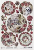 Ciao Bella Rice Paper Sheet A4 5/Pkg-Medallions, Frozen Roses - 1