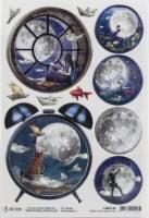 Ciao Bella Rice Paper Sheet A4 5/Pkg-Alarm Clock, Moon & Me - 1