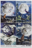 Ciao Bella Rice Paper Sheet A4 5/Pkg-Cards, Moon & Me - 1
