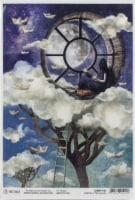 Ciao Bella Rice Paper Sheet A4 5/Pkg-Window In The Clouds, Moon & Me - 1