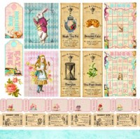 Alice's Tea Party Double-Sided Cardstock 12 X12 -Party Tickets - 1