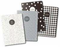 Carpe Diem A6 Notebooks 4/Pkg-Monochrome - 1