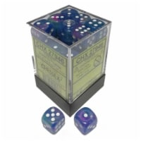 Chessex Manufacturing CHX27946 12 mm D6 Cube Festive Dice - Waterlily & White, 36 Piece