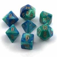 Chessex 7 Set Dice Gemini Blue-Teal/Gold CHX 26459 - 1 Unit