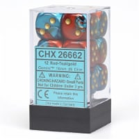Chessex 12 Count 16mm D6 Gemini Red Teal Gold Dice CHX26662 - 1 Unit
