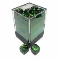 Chessex 12mm D6 Gemini Black Green Gold Set Dice 36 Count 26839 - 1 Unit