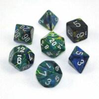 Chessex 7 Set Dice Festive Green Silver 27445 - 1 Unit