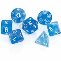 Chessex 7 Set Polyhedral Dice Borealis Sky Blue White Luminary CHX27586 - 1 Unit