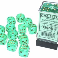 Chessex Manufacturing CHX27775 16 mm D6 Cube Borealis Luminary Dice, Light Green with Gold Nu