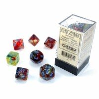 Chessex 7 Set Polyhedral Dice Nebula Primary Blue Luminary CHX27559