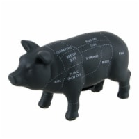 Large Black Ceramic Pig Shaped Coin Bank Butcher Chart Piggy Bank 7 1/4 Inch - One Size