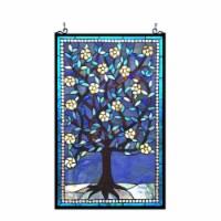 "CHLOE Lighting WOODLEY Tiffany-glass ""Tree of Life"" Window Panel 20x32"