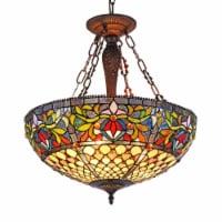 "CHLOE Lighting FALLON Tiffany-style 3 Light Inverted Ceiling Pendant 20"" Shade"
