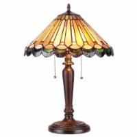 "INEZ Tiffany-style 2 Light Mission Table Lamp 16"" Shade"