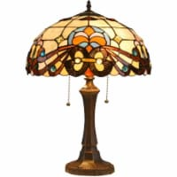 Lighting FLORENCE Tiffany-style 2 Light Victorian Table Lamp 16  Shade - 1 unit