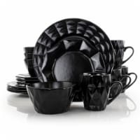 Elama Retro Chic 16-Piece Glazed Dinnerware Set in Black
