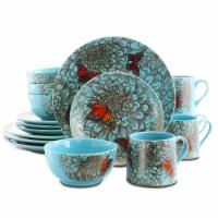 Elama Butterfly Garden 16 Piece Stoneware Dinnerware Set