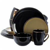 Elama Cambridge Grand 16 Piece Dinnerware Set in Luxurious Black and Warm Taupe
