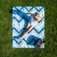 Cgear -patented Sand Multi Use Outdoor Camping Mat Blue Zig- Zag - 1