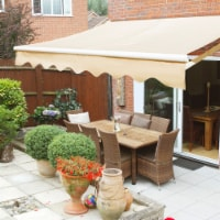Outdoor 8' x 6' ft Manual Retractable Patio Deck Awning Sun Shade, Beige - 1 Unit