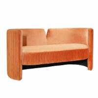 Pleated Velveteen Sofa, Rust - 1