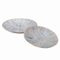 S/2 Metal 18/21  Round Plates, Ivory/Blue - 1
