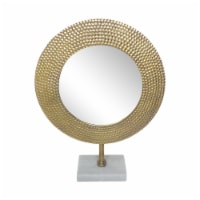 Metal 21  Hammered Mirror On Stand, Gold - 1