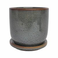 Ceramic 5  Planter W/ Saucer, Green - 1