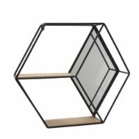Metal/Wood 20  Hexagon Mirrored Wall Shelf, Black - 1