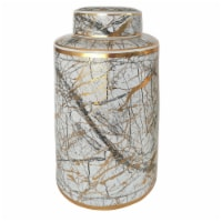 Ceramic 16  Jar With Gold Lid, White - 1