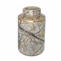 Ceramic 12  Jar With Gold Lid, White - 1