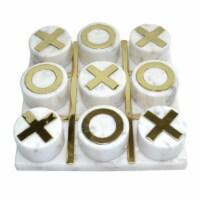 Marble 7X7 Tic-Tac-Toe, White/Gold - 1