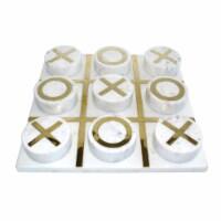 Marble 12X12 Tic-Tac-Toe, White/Gold - 1