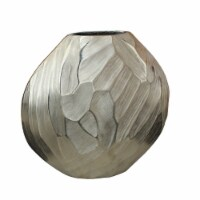 Aluminum 11 H Hammered Vase, Silver - 1