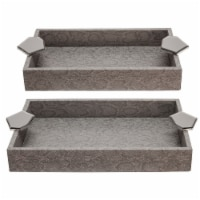 S/2 Wood 14  Faux Leather Trays, Gray - 1