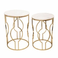 S/2 Metal/Marble Round Tables, Gold - 1