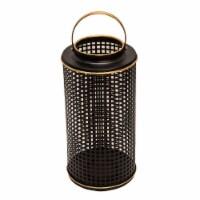 Metal 14  Grid Candle Holder, Black - 1
